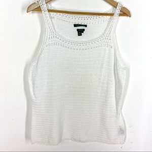 Lauren White Crochet Hand Knit Tank Large
